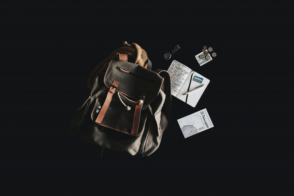 Travel accessories for men in a travel bag.