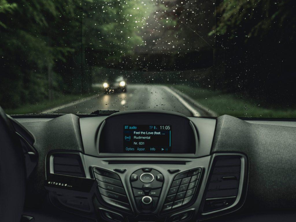 A futuristic looking car dashboard.