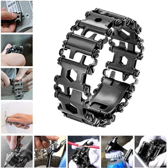 Multitool bracelet, example of travel accessories for men.